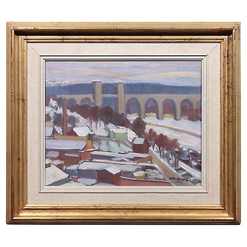 Arsta Bridge in Winter by Sven Hellstrom