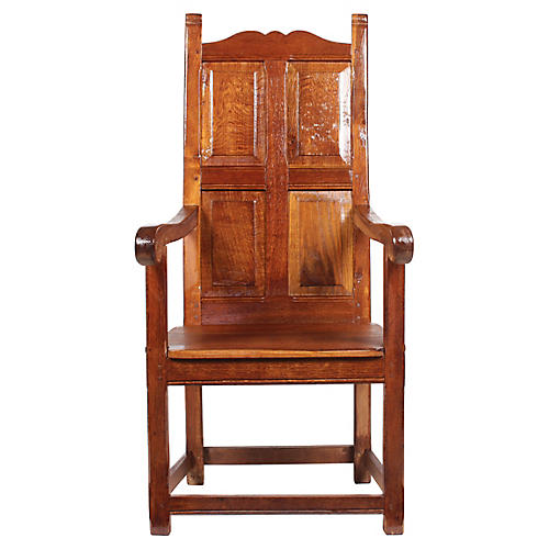 1920s Elizabethan-Style Paneled Chair