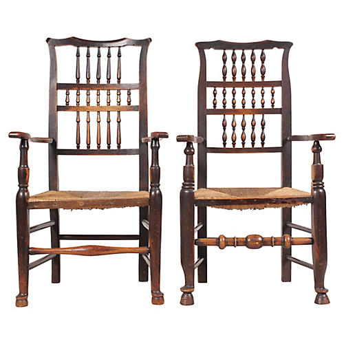 Antique Elizabethan-Style Armchairs, S/2