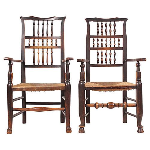 Antique Elizabethan-Style Armchairs, S/2