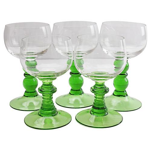 German Green Stem Goblets, S/5