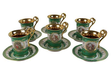 German Teacups & Saucers, S/6