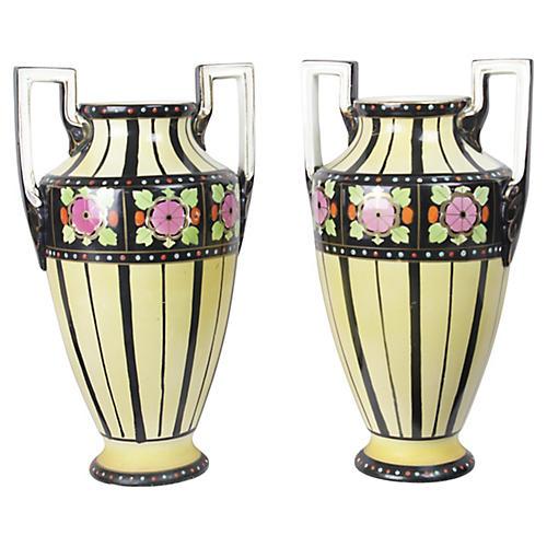 1920s Art Deco Boch Freres Vases, S/2