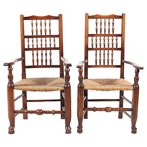 Lancashire-Style Spindle Armchairs, Pair