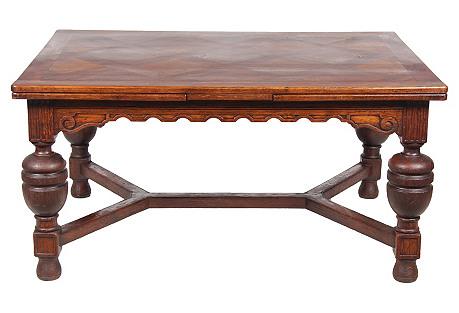 1890s Elizabethan-Style Oak Dining Table