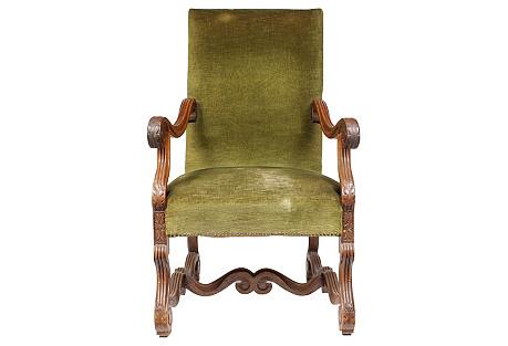 Oak Baroque-Style Armchair, C. 1900