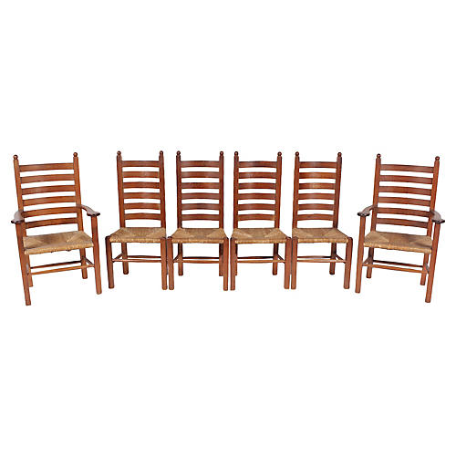 1930s Mission-Style Dining Chairs, S/6