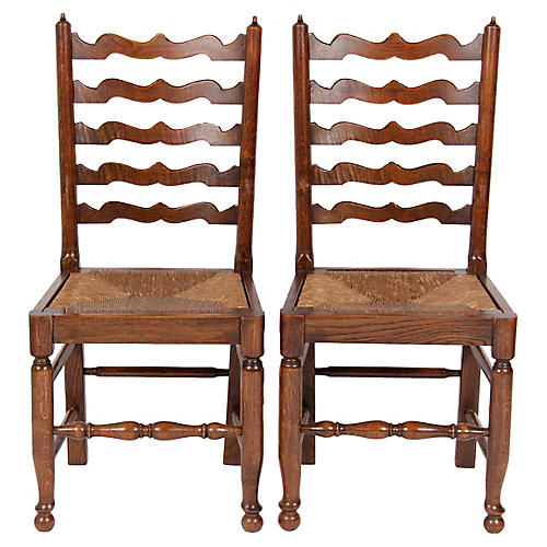 English Wavy Ladder Back Chairs, Pair