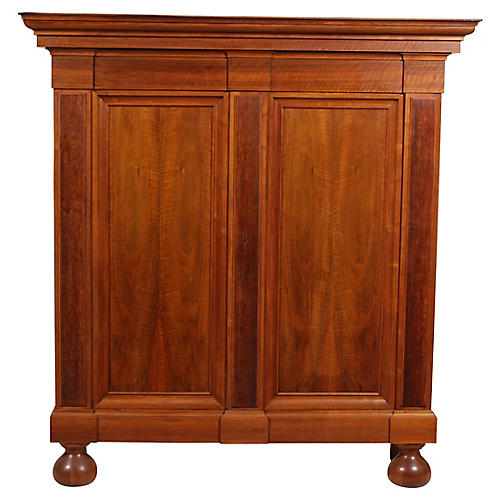 Vintage Danish Dowry Armoire Cabinet