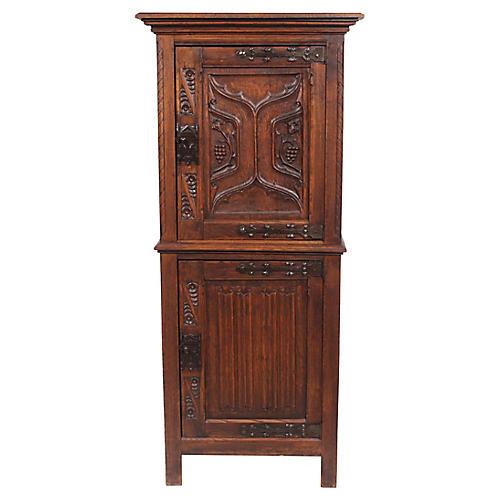 1920s Neo-Gothic Tudor-Style Cabinet