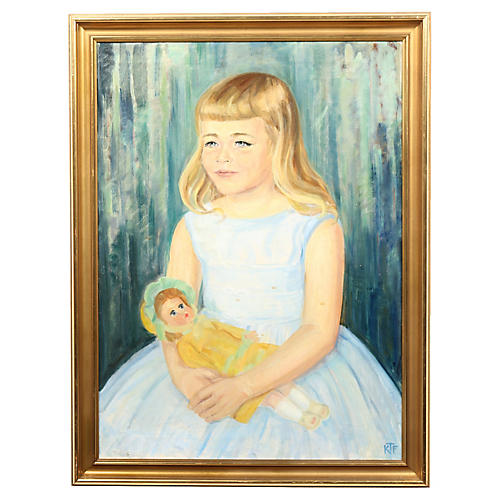 Oil Painting, Daughter and Doll
