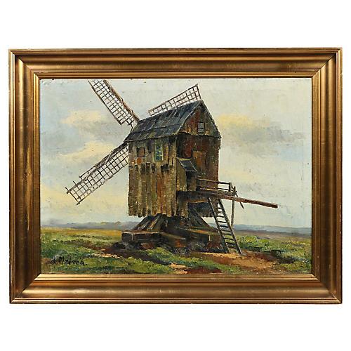 """Danish Oil Painting """"Windmill"""""""