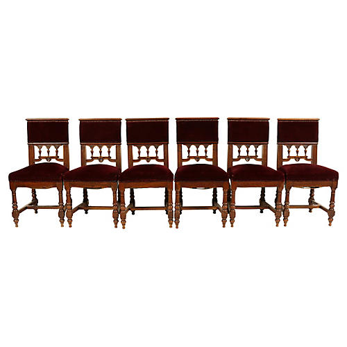 C.1880s Aesthetic Dining Chairs, S/6