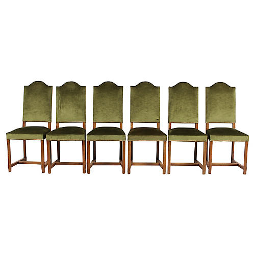 French Country-Style Green Velvet Chairs