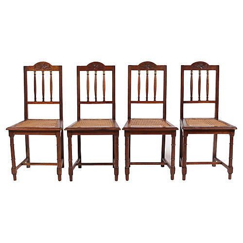 English Brass and Oak Spindle Chairs S/4