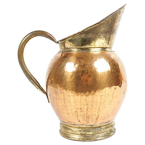 Antique Belgian Copper and Brass Pitcher