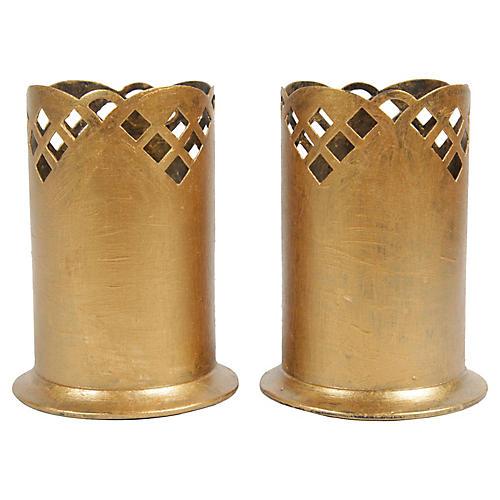 Vintage German Gilt Candle Holders, Pair