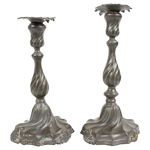 Antique Pewter Candlesticks, Pair