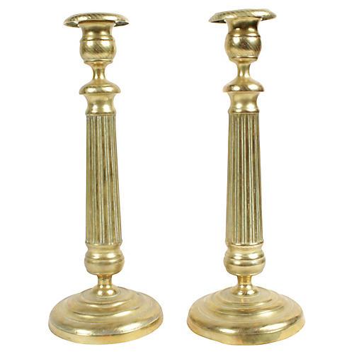 Antique Brass Candlesticks, Pair