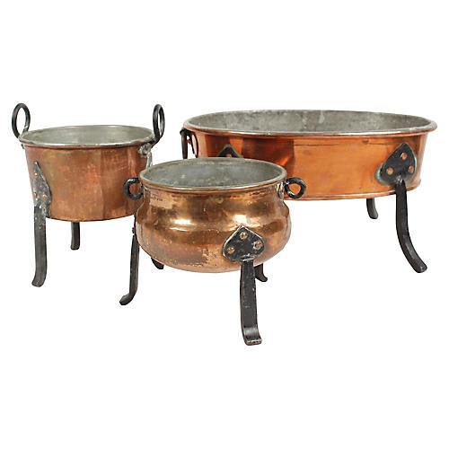 Antique Swedish Copper Fondue pots, S/3