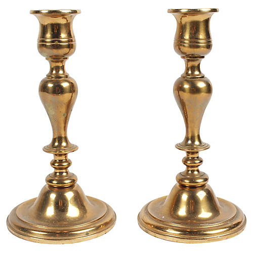 Swedish Copper Candlesticks, Pair