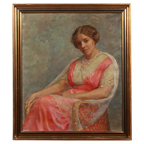 Early 20th c. Oil Portrait of a Woman