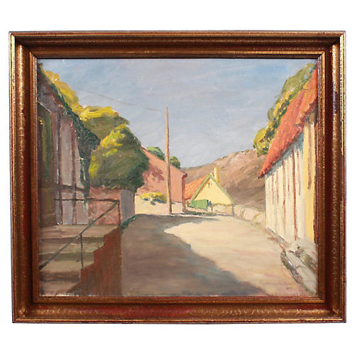 1943 Oil of Sunny Road by Egon Lenskjold