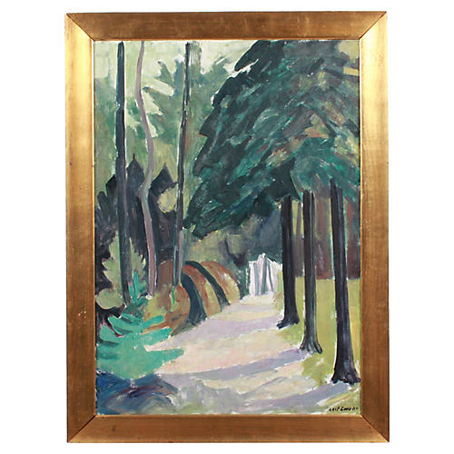 20th c. Wooded Path by Leif Ewens