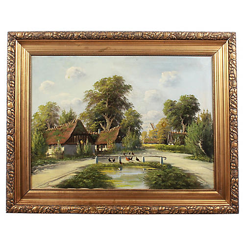 Oil Painting of Farm by B. Moller