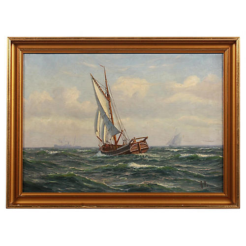 Sailboat at Sea by Axel Bulow