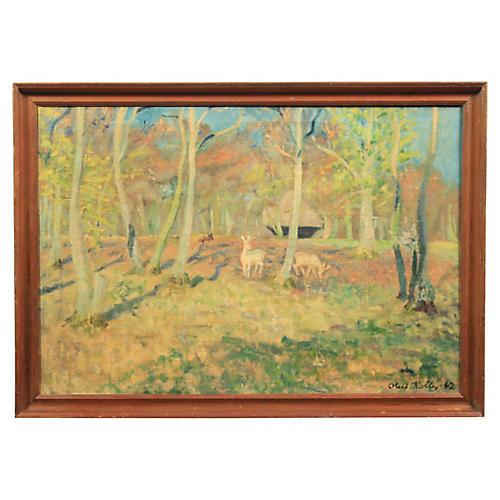 1962 Oluf Kolby White Deer in the Woods
