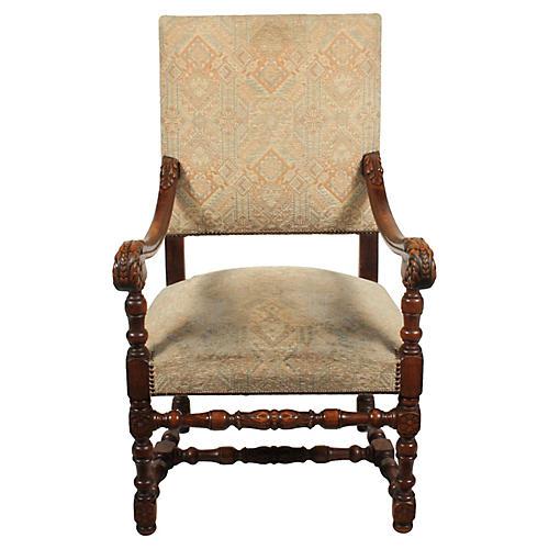 1920s Louis XIII Baroque Armchair