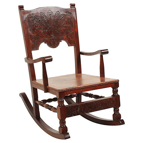 1890s Victorian Leather Rocking Chair