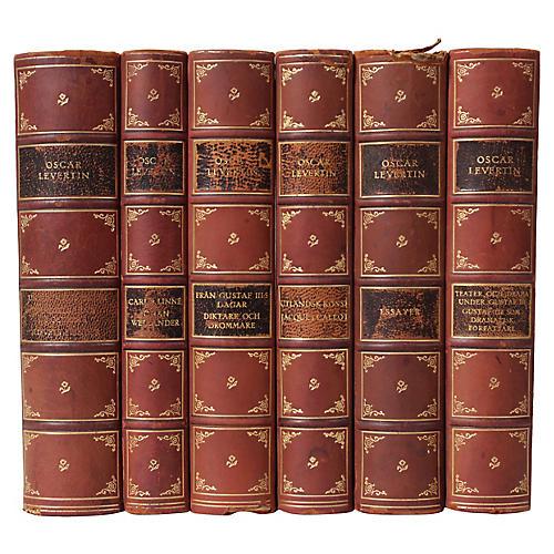 Scandinavian Leather-Bound Books, S/6