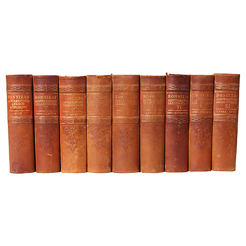 Scandinavian Leather-Bound Books, S/9