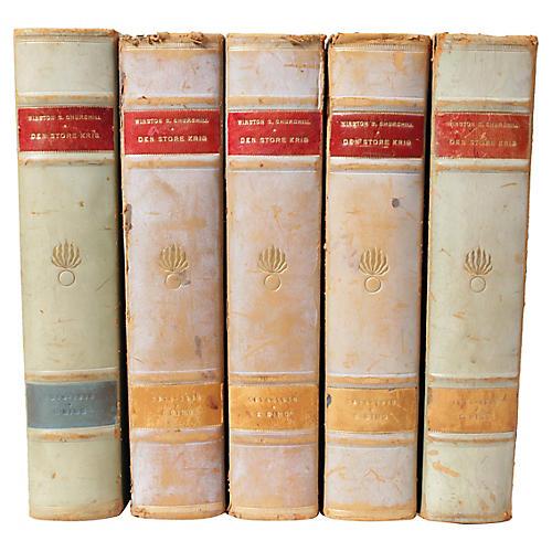 Scandinavian Leather-Bound Books S/5