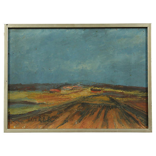 20th-C. Abstract Landscape Oil Painting