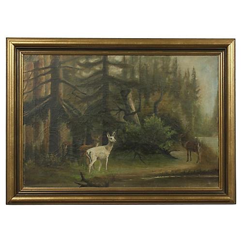 Oil Landscape Featuring an Albino Deer