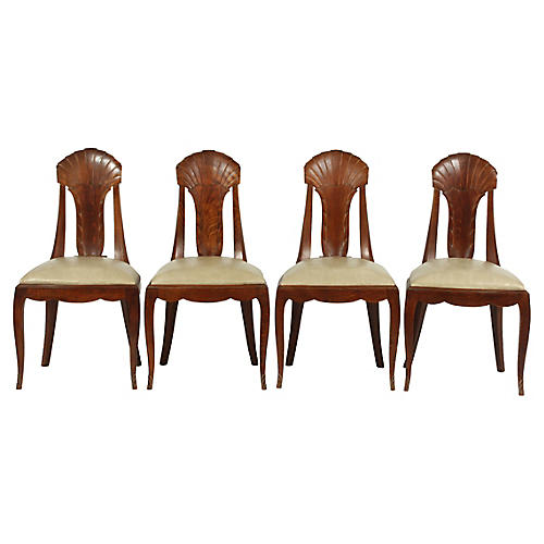 1930's French Art Deco Dining Chairs S/4