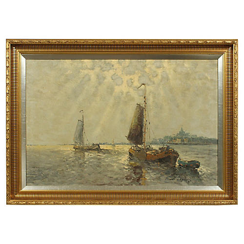 20th-C. Impressionist Sailboat Painting