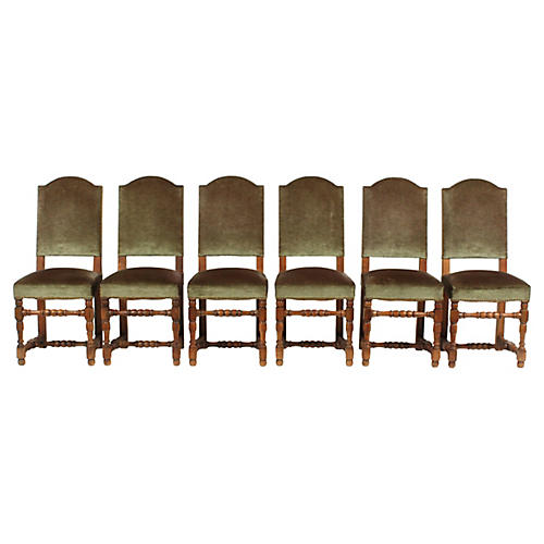 20th-C. Velvet French Country Chairs S/6
