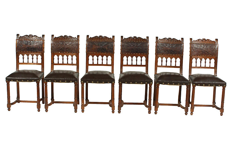 19th-C. Henry II-Style Chairs, S/6