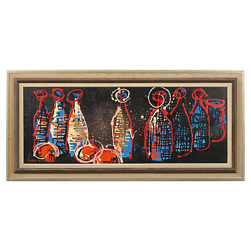 Bottles and Oranges by Per Moller