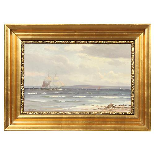 Ship at Sea by Svend Drews