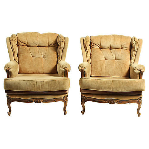 French Louis XV-Style Bergères, Pair
