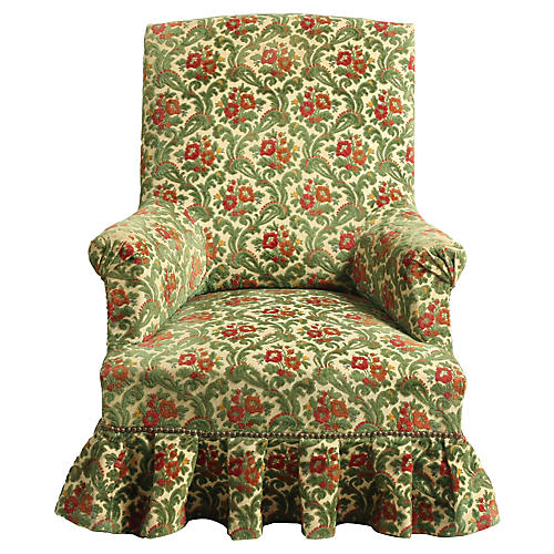 Edwardian Style Velvet Slipper Armchair