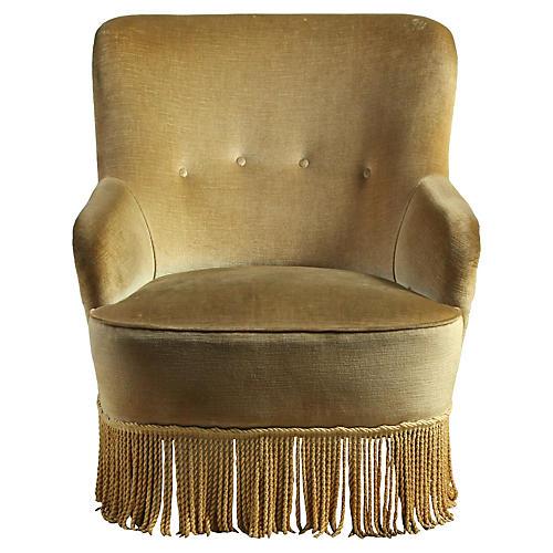 Velvet Barrel-Back Slipper Chair