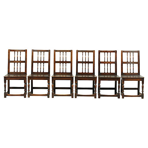 Set of 6 Lancashire Spindle Back Chairs