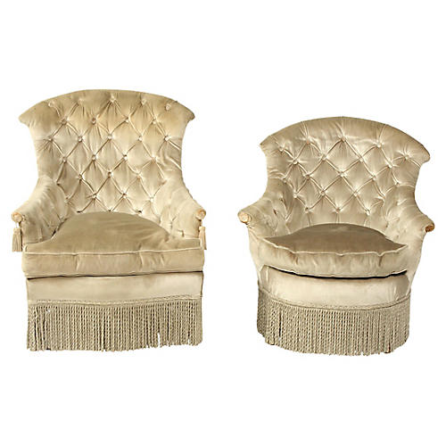 His and Hers Velvet Boudoir Chairs