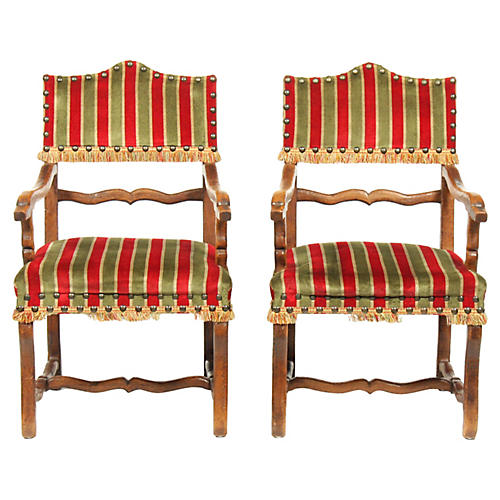 Louis XIV-Style Striped Armchairs, Pair